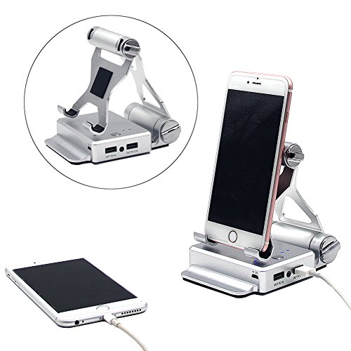 Battery Charger Stand - Phone Tablet Stand Holder + 10400mAh Power Bank Dual USB external battery charger for iPhone 7, iPhone 7 plus,iPhone 6,iPhone 6s, Samsung Galaxy and iPad (Silvery 2in1)