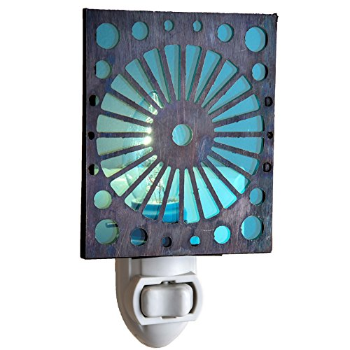 J Devlin NTL 146-2 Aqua Blue Night Light Brass Overlayed with Circular Contemporary Design Modern Decorative Aquamarine - Tray Art Stained Glass