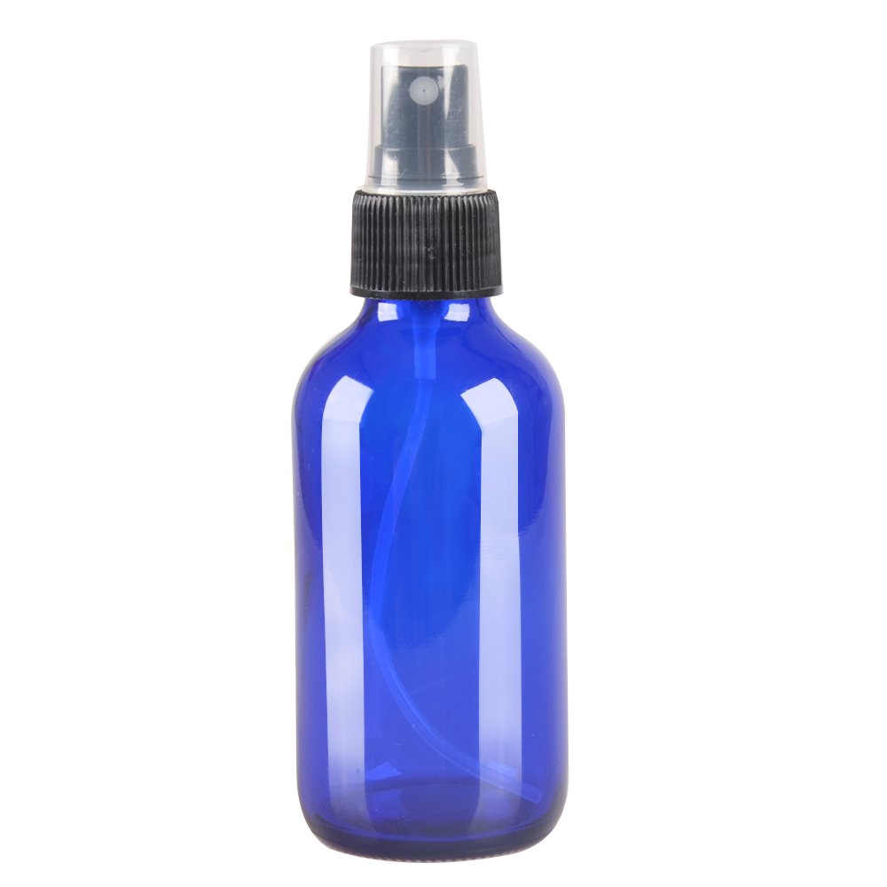 6 Pack,4oz Blue Glass Bottles with Black Fine Mist Sprayer.Refillable & Reusable.Designed for Essential Oils, Perfumes,Cleaning Products,Aromatherapy.6 Chalk Labels as gift.
