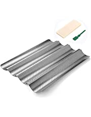 Perforated Baguette Pan, QUIENKITCH Food Grade Nonstick Coating Baguette Bread Pan Set for French Bread Baking, Includes with Professional Bakers Couche Proofing Cloth and Bread Lame