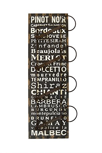 Haven Weathered Wood Wine Rack with Wine Sayings, Holds 4 Bottles