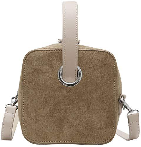 Cotton Square Handbag Shoulder Bag - QZUnique Women's Frosted PU Handbag Solid Color Crossbody Square Top-Handle Shoulder Bag Khaki