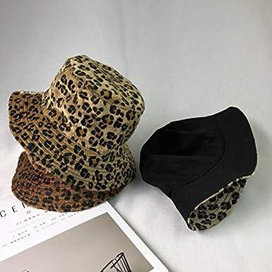ACVIP Damen Herbst Winter Leopard-Druck Fischerhut Eimer Hut Faltbar