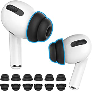 Delidigi 6 Pairs AirPods Pro Ear Tips Silicone Earbuds Earplug Replacement Accessories Compatible with AirPods Pro 2019 S/M/L Size (Black)