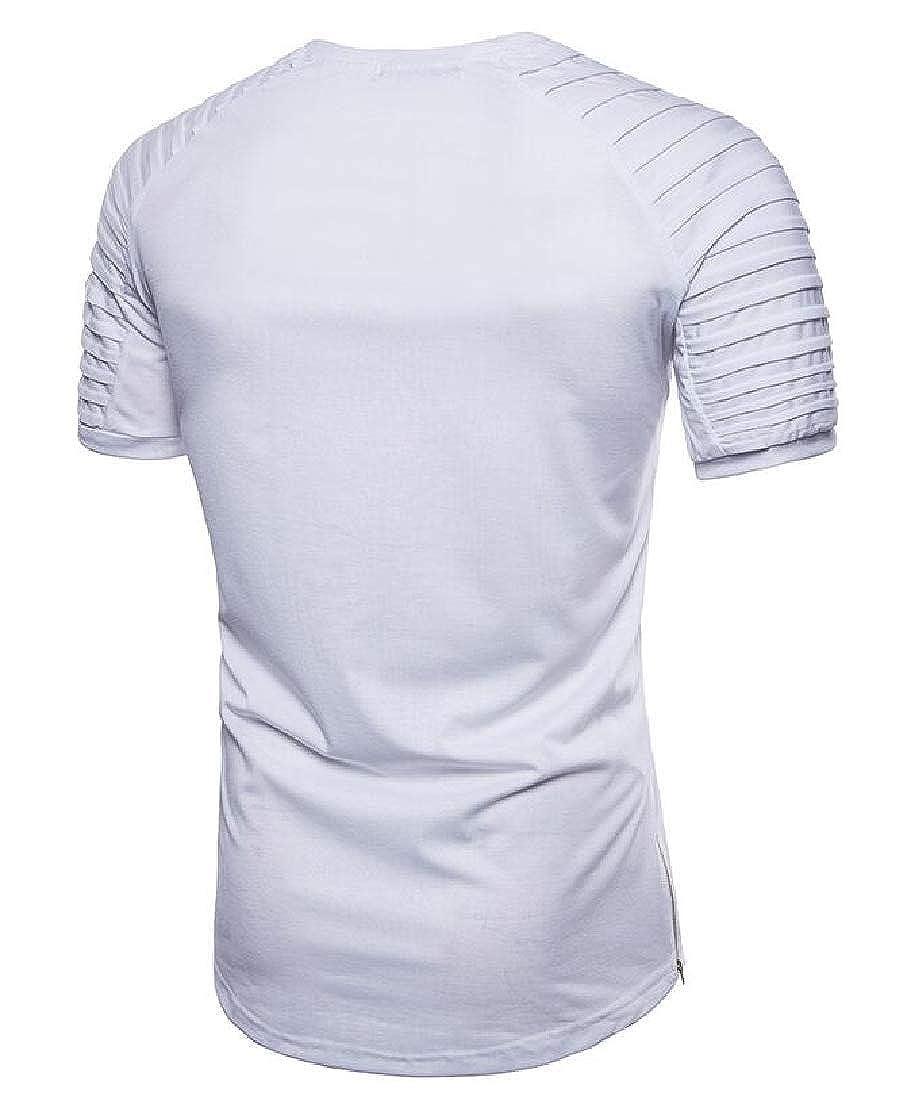 UUYUK Men Ruched Short Sleeve Solid Crew Neck Zip Trim Longline Tee T-Shirts