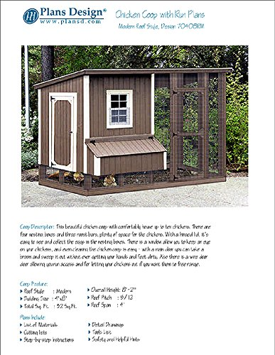 DIY Chicken Coop / Hen House 4 ft x 8 ft Modern Roof Style Project Plans, Design 70408RM