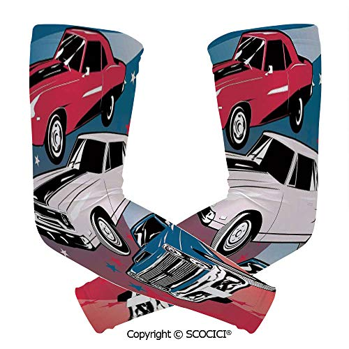 Comfort and Durable Lightweight Arm Guard Sleeve Pop Art Stylized Group of Nostalgic American Muscle Cars with Stars Antique Print Breathable, Flexible Sleeves Protection