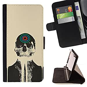 Skull Skeleton Art Target Drawing Painting Head - Painting Art Smile Face Style Design PU Leather Flip Stand Case Cover FOR LG OPTIMUS L90 @ The Smurfs