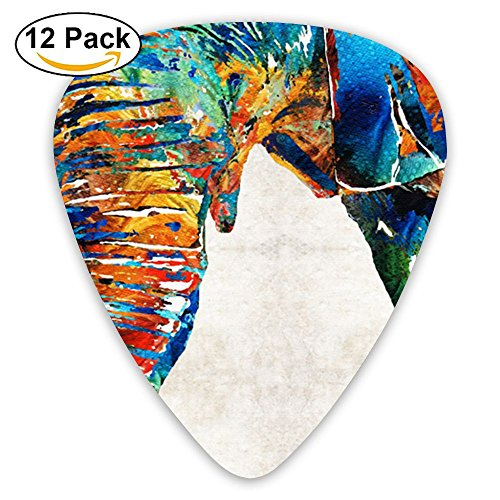 Black Large Bohemian Elephant Boho Bass Thin Heavy Medium Electric Guitar Picks Girls 12 Packs Classical Guitar