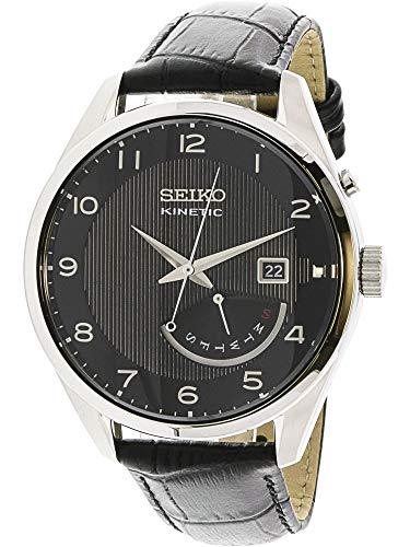 - Seiko Kinetic Black Dial Black Leather Mens Watch SRN051P1