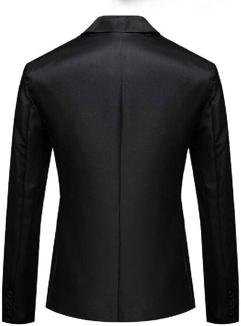 YYG Men Slim Fit Plain One Button Long Sleeve Business Blazer Jacket Coat