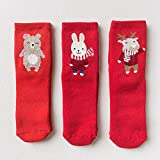 BEINA Children's Terry Socks Cotton Children's Terry Socks New Year Red Color Christmas