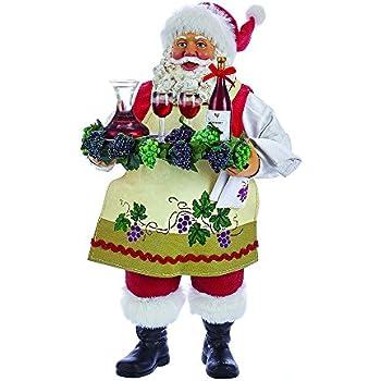 "Kurt Adler 11"" Fabriche' Santa Holding Tray of Wine"