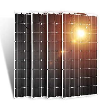 Dokio Juego de 4 piezas de panel solar de 100 W 12 V 24 V monocristalino flexible impermeable ligero panel solar flexible para furgoneta, autocaravana, caravana, barco, cabina, caravana, coche: Amazon.es: Amazon.es