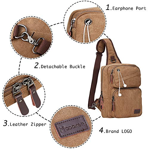ac39e7c28699 Modoker Men s Messenger Backpack Bag Sling Bags Crossbody Shoulder Backpack  Canvas Chest Pack