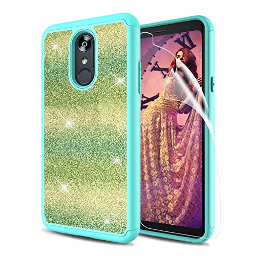 LG Stylo 4 Glitter Case, LG Q Stylus Case, LG Stylo 4 Plus Case with HD Screen Protector, Bling Dual Layer Soft Silicon TPU Bumper Hard PC Cover - Green