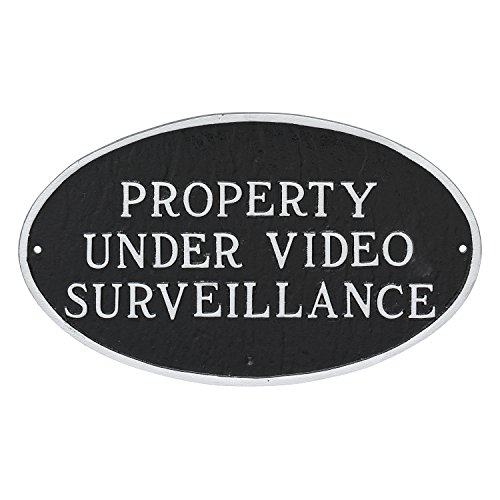Montague Metal Products Property Under Video Surveillance Statement Plaque, Black with Silver Letter, 6'' x 10'' by Montague Metal Products