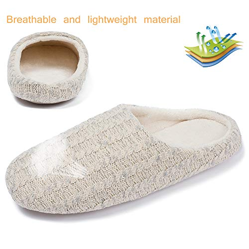 SCIEN Womens Memory Foam House Slippers Cashmere Cotton Knitted Anti-Slip Indoor Shoes