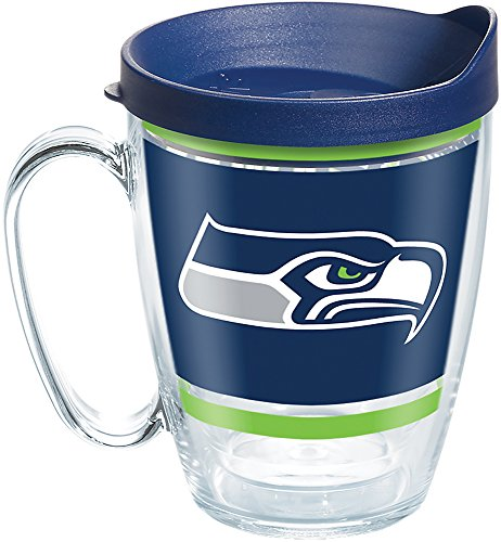 (Tervis 1257373 NFL Seattle Seahawks Legend Tumbler with Wrap and Navy Lid 16oz Mug, Clear)