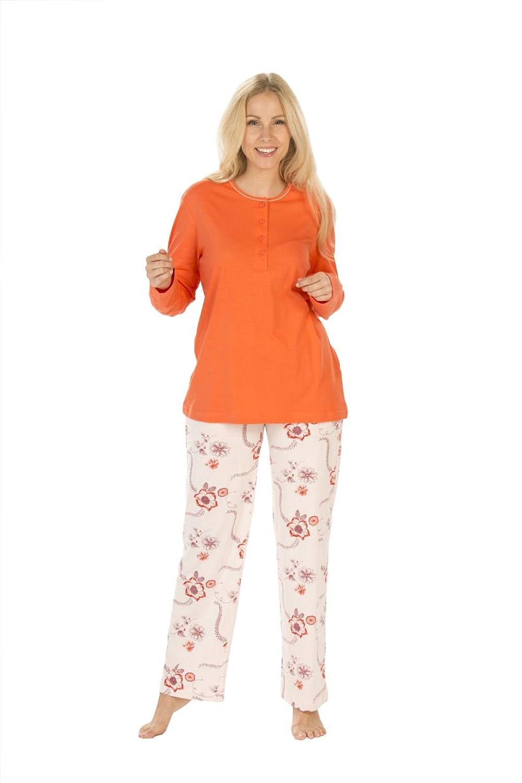 Damen Pyjama Schlafanzug Knopfleiste Langarm Geblümte Hose auch bergren S M L XL XXL 3XL 4XL