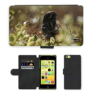 CARD POCKET BOOK CASE PU LEATHER CASE // M00104087 Pájaro Bush Naturaleza Verde Animal // Apple iPhone 5C