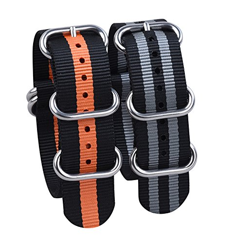 Watch Band NATO Straps 2Pcs Replacement Heavy Duty Nylon Straps with Stainless Steel Buckle (20, Black/Gray,Black/Orange)