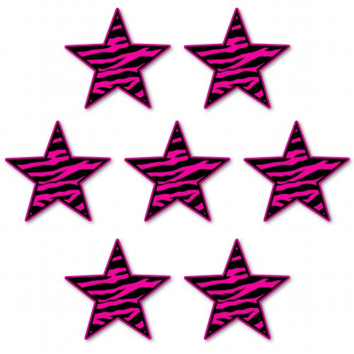 Zebra Stars Set of 7 Pink Cute Vinyl Sticker - Car Window Bumper Laptop - SELECT SIZE (Zebra Set Decal)