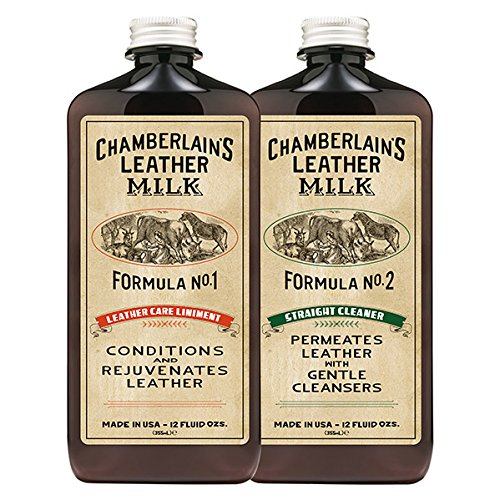 Chamberlains Leather Milk Conditioner and Cleaner Kit - No. 1-2 Conditioner + Cleaner Kit - All Natural, Non-Toxic Leather Care. 2 Sizes. Made in the USA. Includes 2 Premium Restoration Pads! 12 OZ