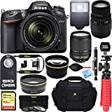 Nikon D7200 Black Digital SLR Camera with 18-140mm VR & 70-300mm f/4-5.6 SLD DG Macro Telephoto Lens + Accessory Bundle