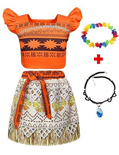 JYH Princess Moana Adventure Costume Two-Piece Skirt Set Party Dress for Girls Kids]()