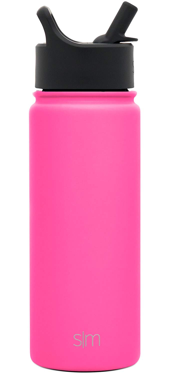 Wide Mouth Vacuum Insulated 18//8 Stainless Steel Powder Coated Simple Modern Summit Water Bottle with Straw Lid