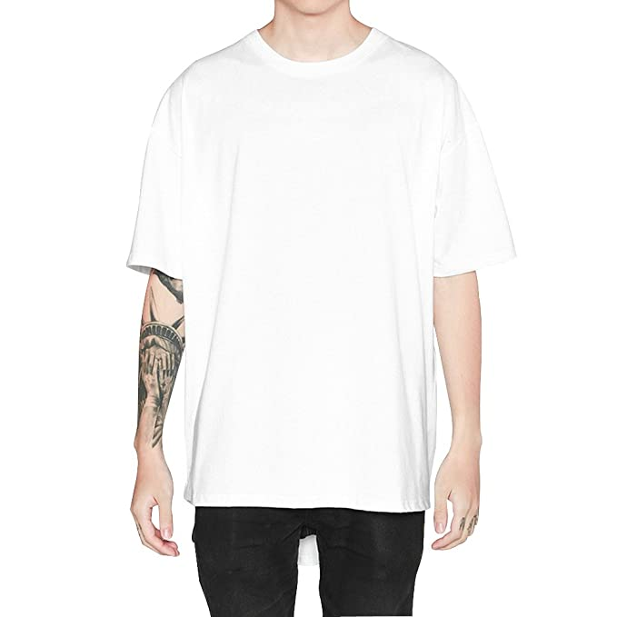 Camiseta Hombre Manga Corta Largas Blanca Moda Hip Hop Blusas (M, blanco)