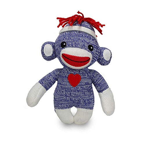 (GiftsGaloreNow Sock Monkey Baby Doll, 6 Inches Puppet Comes with White Line Hat and Heart Logo in Front, Best Gift for Kids Expressing in Color of Love (Blue (I Miss You)) )