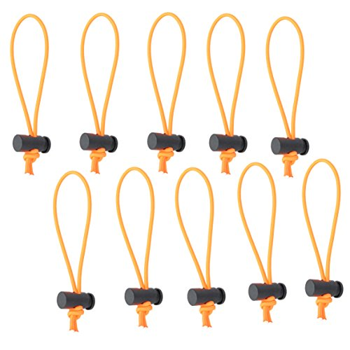 Cable Toggle - Foto&Tech 10-Pack Multipurpose Extra Thick Toggle Tie/Cable Tie and Organizer Adjustable/Elastic Loop/Instant Clutter Killer/Tangle Tamer/Cable Management for Cord & Cable Reusable (Orange)