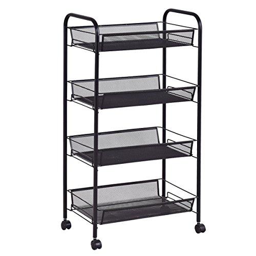 Giantex Storage Rack Trolley Cart Home Kitchen Organizer Utility Baskets (4 Tier, Black)