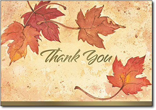Fall Leaves Thank You Note Cards & Envelopes - 50 Cards & Envelopes - Includes Gold Foil Highlights!