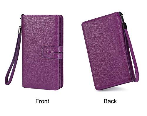 AINIMOER Women's Big RFID Blocking Leather Zip Around Wallets for Womens Clutch Organizer Checkbook Holder Large Travel Purse(Lichee Purple) by AINIMOER (Image #6)
