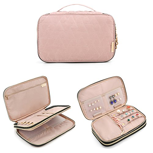 BAGSMART Double Layer Travel Jewelry Organizer Jewelry Storage Carrying Cases for Earrings, Necklaces, Rings, Pink by BAGSMART