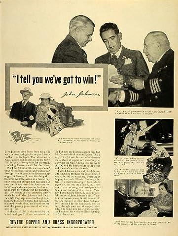 1942 Ad Revere Copper Brass World War II Metals Captain Hyland John Johnson Navy - Original Print - Revere Copper Brass