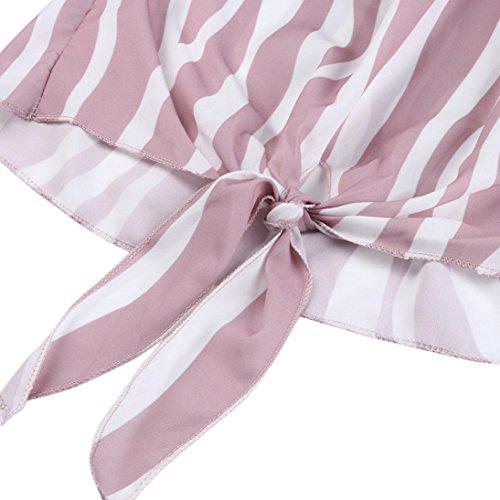 La T Zha Dcontract Cravate Hei Femmes Blouse Cou Manches Courtes Slash Hors Bangane Ba Shirts Rayures Rose Tops paules 7xRxztnAa