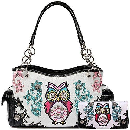 (Colorful Owl Tooled Leather Concealed Purse Western Style Country Handbag Women Shoulder Bags Wallet Set (Black Set))