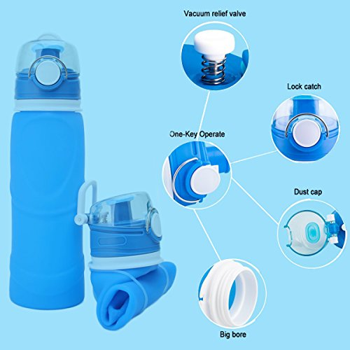478d008a4b62 Lonni Collapsible Silicone Water Bottles-750ML,Medical Grade,BPA Free,FDA  Approved Can Roll Up,26oz,Leak Proof Foldable Sports Outdoor Water Bottles  ...