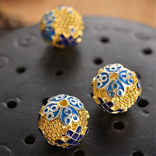 MFMei 925 Sterling Silver Round with Chinese Knot Golden Plated Cloisonne Spacer Bead (TL016)