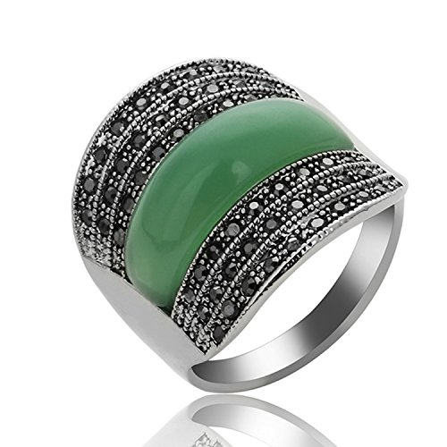 Yfnfxl Women's Vintage Green Resin Marcasite Crystal Big Statement Stainless Steel Cocktail Rings (Cocktail Green Ring Stone)