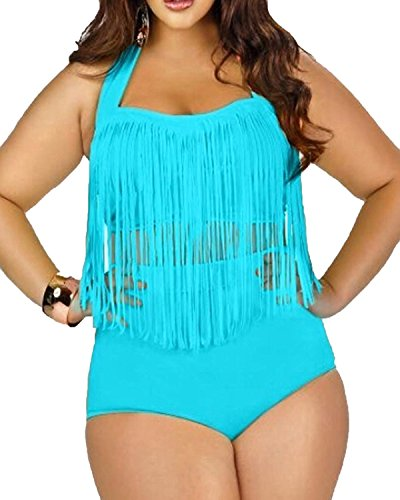 Spring fever 2 PCS Plus Size Retro High Waist Braided Fringe Top Bikini Swimwear Bathing Suit for Women(FBA) D Sky Blue XXX-Large (US 14-16)