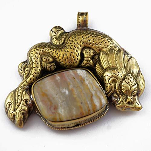 Jasper Gold Brass Dragon Snake Repousse Pendant Tibetan Nepalese Ethnic Tribal APD666 -