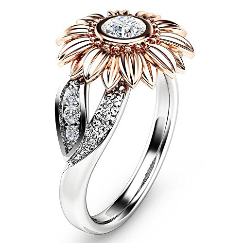 FEDULK Womens Sunflower Jewelry Zirconia Rings with Side Stone Copper Leaf Eternity Band Gifts Elegant Rings(Rose Gold, 7)