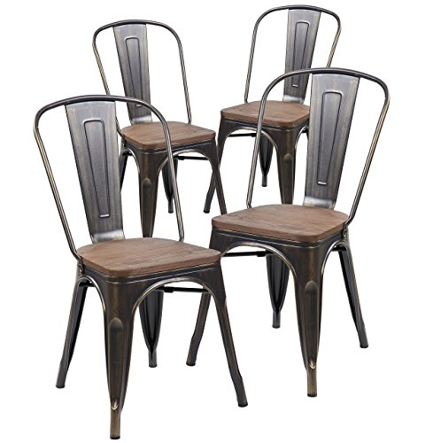 ANJI Industrial Tolix Style Distressed Metal Bistro Stacking Kitchen Dining Chairs with Wood Seat Set of 4 (Antique Gold Black)