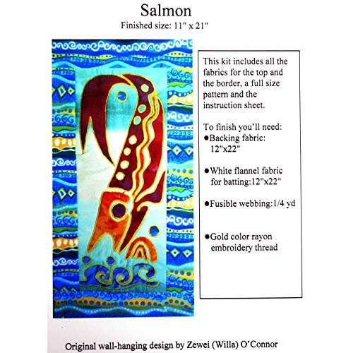 Salmon Fish Applique Quilting Kit,Full Size Pattern,Instruction and Fabrics for the Top,Quilter - Salmon Machine