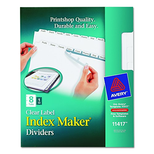 Avery Index Maker White Dividers, 8-Tab, Laser/Ink Jet, 3-Hole, Letter Size (8.5 x 11), Clear, 8 per Set (11417 - Laser Dividers
